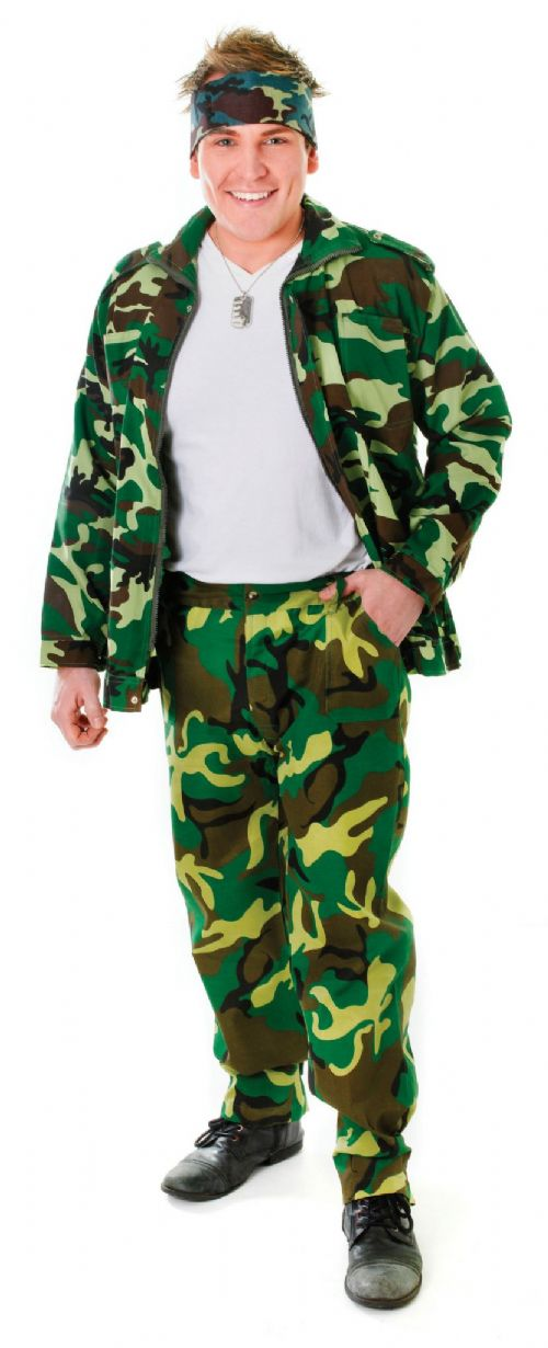 Adults Camouflage Trousers Costume Army Soldier Superhero Fancy Dress Accessory